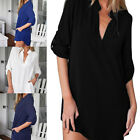 Plus Size Women Long Sleeve V-Neck Oversize Chiffon T Shirt Top Blouse Dress SEA