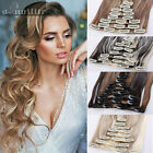 Long New Curly Wavy Straight CLIP IN On HAIR EXTENSIONS Full head 8Pcs/Set brown