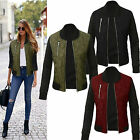 Fashion Womens Winter Quilted Jackets Bomber Baseball Biker Coat Padded Outwear