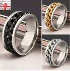 Stainless Steel Womens/Mens Spin/Rollling /Chain/Worry Ring  All Sizes UK Seller