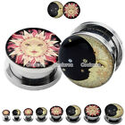 4mm-16mm Stainless Steel Chic Sun & Moon Screw Plugs Tunnel Expanders Stretchers