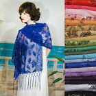 Внешний вид - Long Sheer Embroidery Sequin Shawl Wrap Scarf Evening Prom Wedding - W295