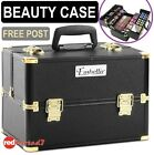 Beauty Make Up Portable Travel Case Black Gold Cosmetic Nail Carry Box Organiser