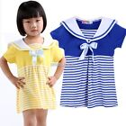 New Kids Girl's Short Sleeve Navy Collar Bowknot Stripe Pencil Dress N98B