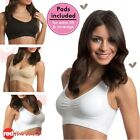 Womens Seamfree Wire Free Seamless Crop Top Bra Black Nude Plus Size 18 20 22 24