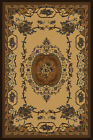 BEIGE european FLORAL carpet TRADITIONAL tan BORDER french MEDALLION area RUG