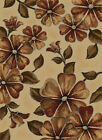 Ivory Brown Country Carpet Floral Country Flowers Leaves Petals Vines Area Rug