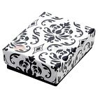 Black Damask Cotton Filled Gift Boxes Jewelry  Box Lots of 12~25~50~100 <br/> 9 Different Sizes In 4 Different Lot Quantities
