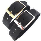 DARLENA 16mm BLACK WASHABLE NYLON ONE PIECE WATCH STRAP EASY FIT GOLD or SILVER