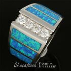 4x Moissanite Ocean Blue Fire Opal Silver Wide Band Ring Size 7 8 9 10 11 12