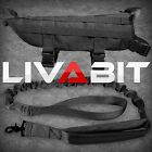 LIVABIT Police K9 Dog Military Tactical Molle Vest Harness + Canine Leash Black