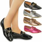 Womens Ladies Loafers Flat Smart Brogues Classic Formal Work School Shoes Size