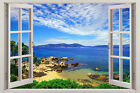 Wall sticker, 3D window, Removable, Reusable,wood or vinyl frame Ocean style 024