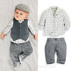 3PCS Newborn Baby Boy Kids Waistcoat+Pant +Shirts clothes sets Outfits Suit Gift