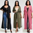 Women Long Sleeve Maxi Chiffon Cardigan Coat Blouse Elegant Fashion Cover Tops