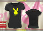 PLAYBOY BUNNY T-shirts V-neck Fitted Black Fluorescent yellow Size:S-XXL PB605