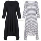 V-Neck Polyester Striped 2 Colors Comfortable 3/4 Sleeve Maternal Dress S0BZ
