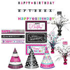 BLACK WHITE PINK TEAL Birthday Party Range - Tableware Banners & Decorations