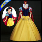 Snow White Cosplay Costume Princess Fancy Dress Headband Cape Adult Ball Gown F