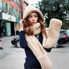 Excellent Women's Fleece Scarf Set 3 In 1 Scarf Hat And Gloves Set Perfect Moder