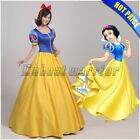 Adult Snow White Fancy Dress+Headband Women Ball Gown Princess Cosplay Costume F