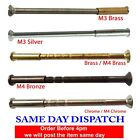M4 QUALITY SCREWS WITH SLEEVES FOR DOOR HANDLE, ROSES AND ESCUTCHEONS - BRASS