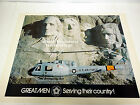Vintage US Air Force Rescue Hellicopter Aircraft Print Mt Rushmore Bicentenniel