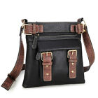 Soft Faux Leather  Messenger Bag Crossbody  Gold Tone Accents  Avail in 6 Colors