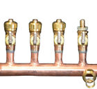 "2"" Copper Manifold 5/8"" Compresson STANDARD. PEX (W & W/O Ball Valves) 2-12 Loop"