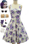 50s Style PURPLE Rose Floral BOUQUET on White Fold Over Bust PEGGY SUE Sun Dress