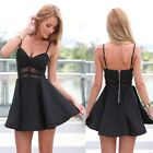 Women Beach Black Sling Cocktail Pleated Strap Sexy Short Mini Dress Hollow Out