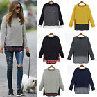 Plus Size Womens Check Jumper Tops Pullover T-shirt Blouse Loose Sweatshirt Tee