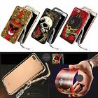 Hip-hop Skull Aluminum Metal Bumper Case Cover with Lanyard For iPhone 7 7 Plus