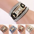 Lady's Stunning Rhinestone Vintage Square Dial Weave Wrap Bracelet Wrist Watch