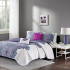 Modern Purple & White Floral Reversible Quilted Coverlet AND Pillows