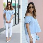 Sexy Women Off Shoulder Short Sleeve Vest Blouses Casual Party Tank Tops AU N98B