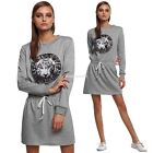 Womens Long Sleeve Mini Dress Cocktail Short Evening Party Elastic Waist EN24H