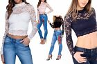 Womens Ladies Long Sleeve Cropped High Neck Lace Floral Crop Top Size UK 8-14