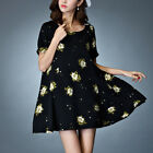 Black floral baby doll casual short sleeve dress tunic top 3313 Size M L XL