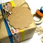 50 100 x brown kraft wedding bomboniere lace gift paper tags + FREE string twine