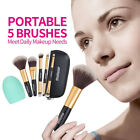 5pc Cosmetic Makeup Brushe Set Blush Lip Brow Eyeshadow Brush Pouch Bag&Wash Egg