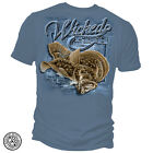 Erazor Bits Mens Graphic Apparel T-Shirt Wicked Fish Capture Blue