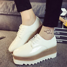 Womens Shiny Lace Up Flats Double Platform Creepers Shoe Oxfords Fashion Sneaker