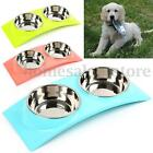 Stainless Steel Double Bowls Pet Dog Cat Puppy Food Water Feeder Feeding Dish