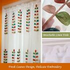 Leaf Embroidered Sheer Curtains Linen Voile Curtain Linen Cafe Curtains 1Piece
