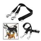 Pet 2-WAY LEATHER DOG LEAD DOUBLE LEASH SPLITTER WITH CLIPS COLLAR HARNESS  OZ