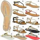 Womens Ladies Flat Strappy Sandals Diamante Summer Toe Post Holiday Shoes Size