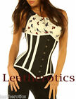 Leather Corset 1836 Black White intense Lacing Waspie Top