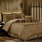7-Pc Yosemite 2-tone Brown Paisley Floral Microsuede Oversized Bed Comforter Set