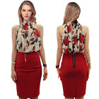 Hot Ladies Chiffon Sleeveless Ruffled Neck Floral Pleated Tops Blouse Shirt
